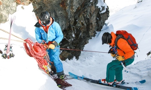Lite klätterteknik för att komma till öppet snöfält - nedfirning